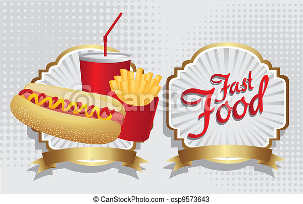 hot dog combo with french fries and soda - csp9573643