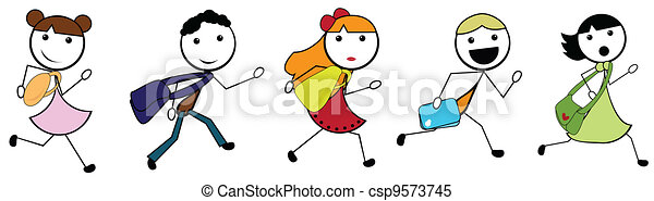 cartoon stick children going to school - csp9573745