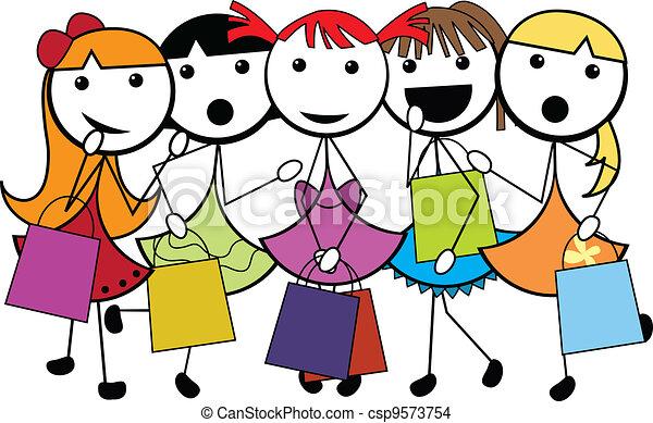 EPS vector de caricatura, palo, compras, niñas - caricatura, palo ...
