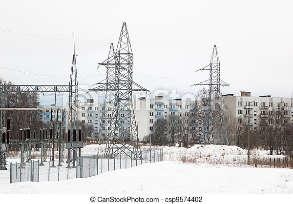 Transformer substation near to residential area - csp9574402