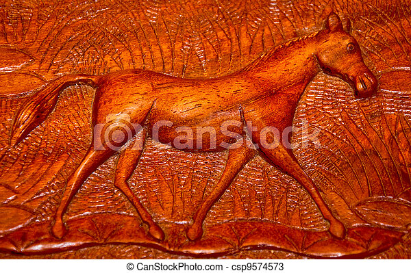 The Carving wood of horse - csp9574573