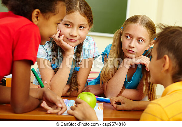 Classmates chatting - csp9574818