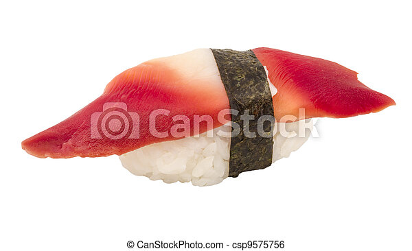 Hokkigai Mollusc sushi on white background - csp9575756