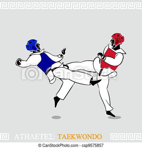 Athlete Taekwondo fighters - csp9575857