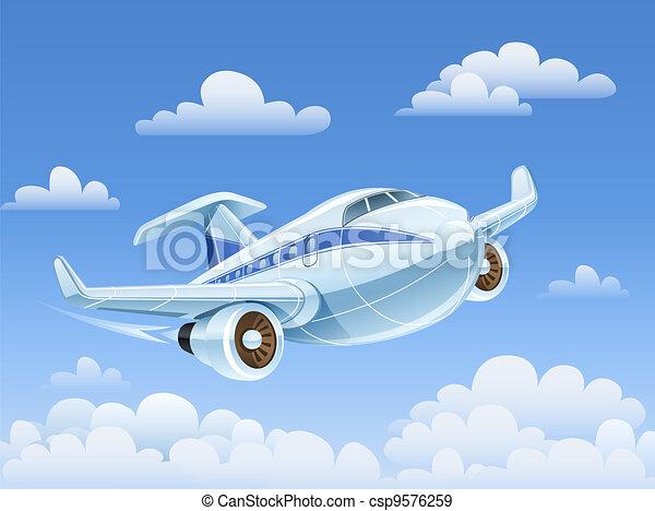 passenger airplane flying in sky - csp9576259