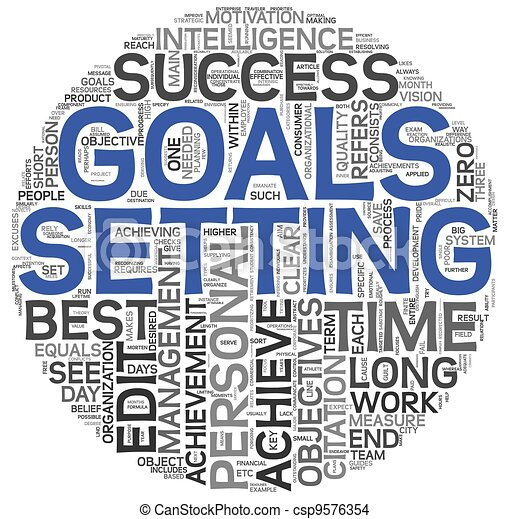 Goals setting concept in tag cloud - csp9576354