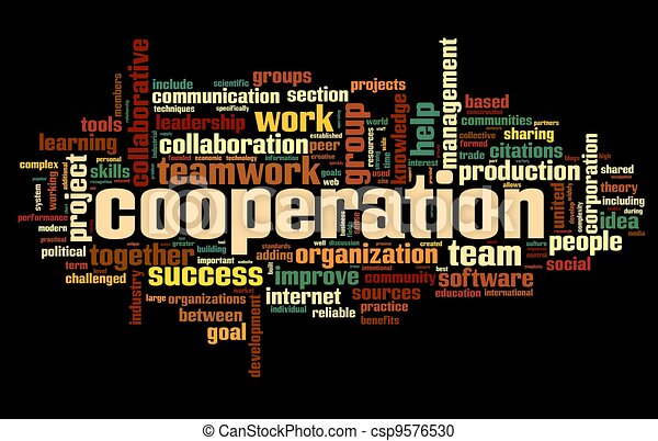 Cooperation concept in word tag cloud on black - csp9576530