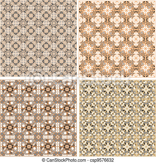 Seamless patterns in islamic style. Vector set - csp9576632