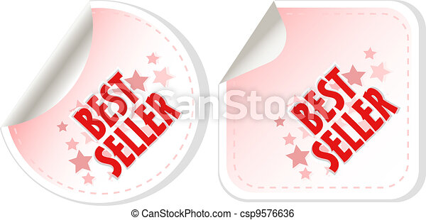Best seller red stickers set. vector - csp9576636