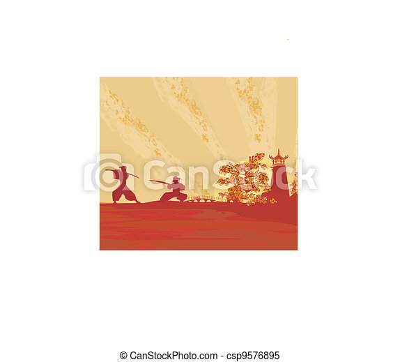 old paper with Samurai silhouette  - csp9576895