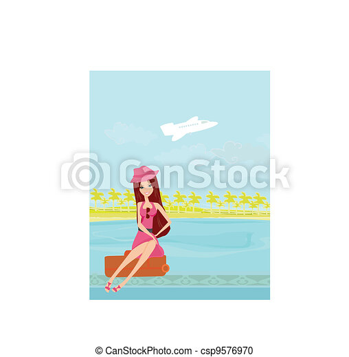 beauty travel girl with baggage - csp9576970
