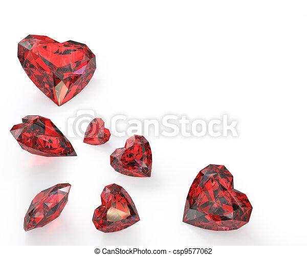 Few heart cut rubies - csp9577062