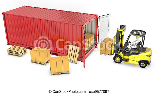 Yellow fork lift truck unloads red container - csp9577087