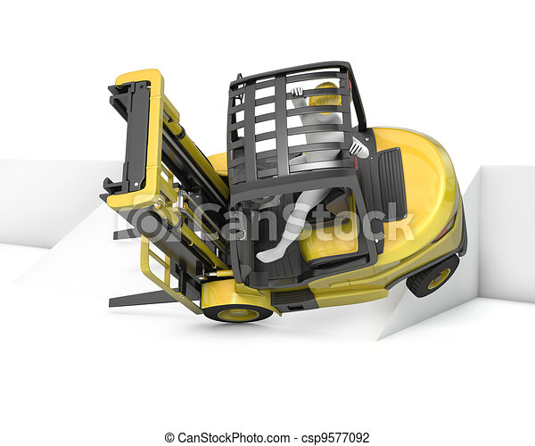 Yellow fork lift truck falling after turning on slope - csp9577092