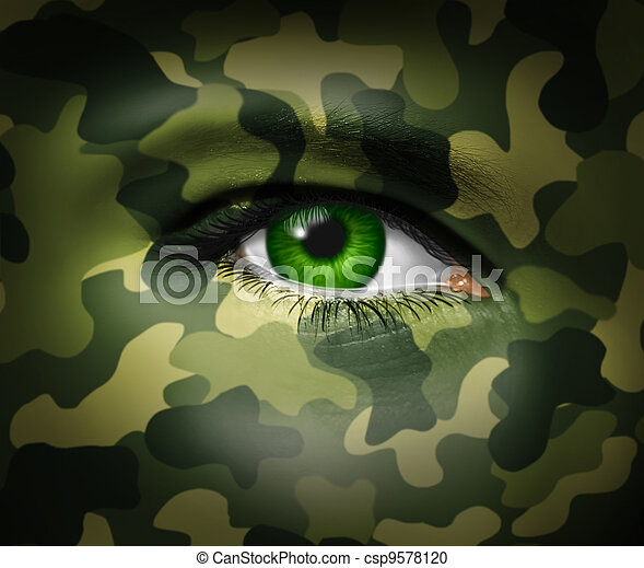 軍, 目, カモフラージュ - csp9578120