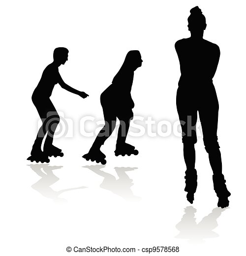 recreation on rollerblades silhouette - csp9578568
