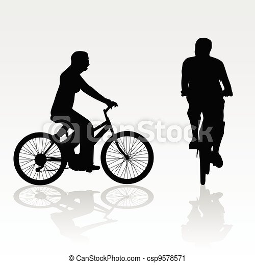 recreation on bike vector silhouette - csp9578571