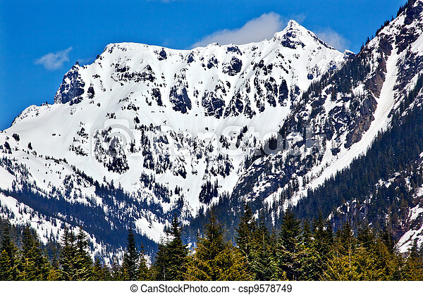 Snow Covered Mount Chikamin Peak April Snow Winter Snoqualme Pass Wenatchee National Forest Wilderness Washington - csp9578749