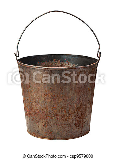 Old Rusty Bucket isolated with - csp9579000
