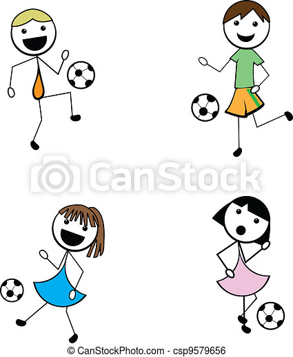cartoon stick children active soccer - csp9579656
