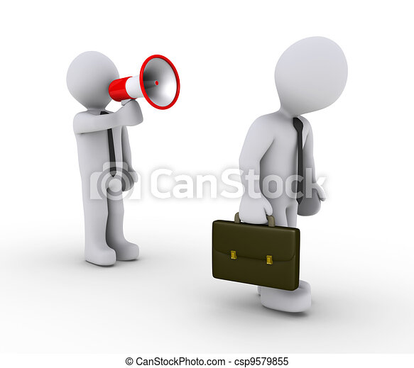 Manager firing employee with megaphone - csp9579855