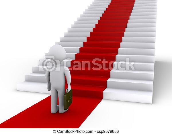 Stock de ilustracion de frente hombre de negocios for Escaleras con alfombra
