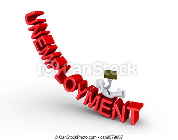 Businessman falling from unemployment - csp9579867