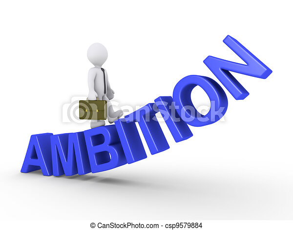 Businessman walking on ambition - csp9579884