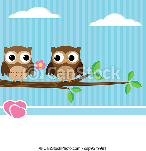 Owl couple - csp9579991
