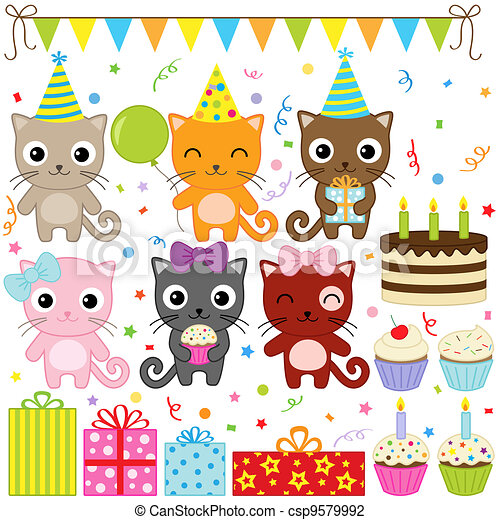 Birthday Party Cats - csp9579992