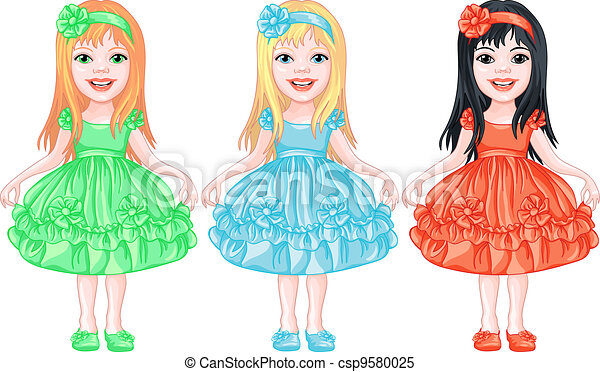 set of charming little girls in fancy dresses - csp9580025
