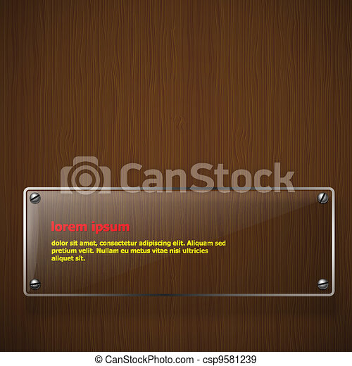 Wooden texture with glass framework. Vector illustration  - csp9581239