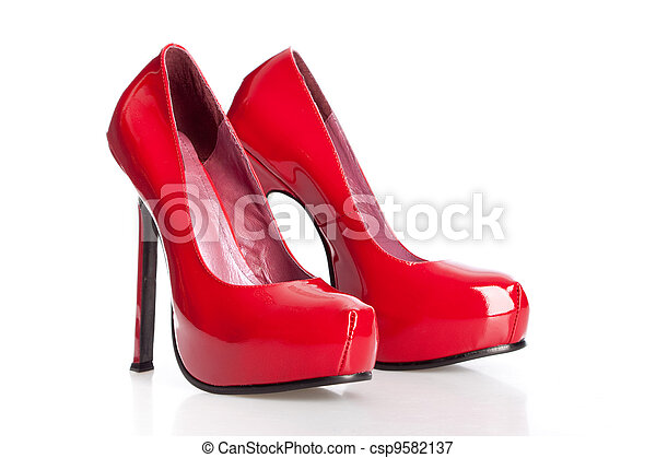 red high heel shoes - csp9582137