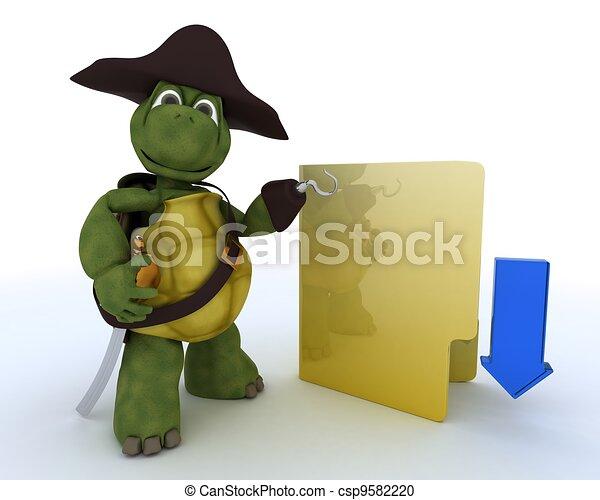 Pirate Tortoise depicting illegal downloads - csp9582220
