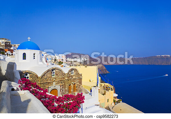 Santorini church (Oia), Greece - csp9582273