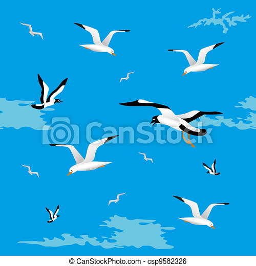 Sea gulls seamless - csp9582326