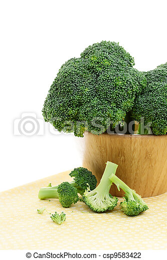 Broccoli in a Wooden Bowl - csp9583422