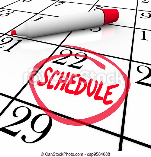 Schedule Word Circled on Calendar Appointment Reminder - csp9584088