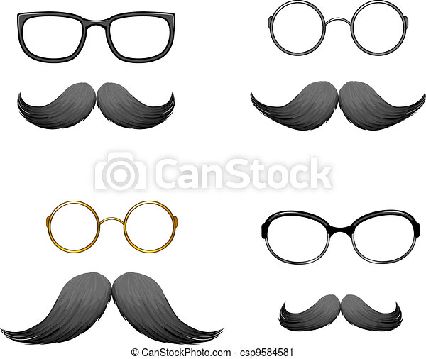 Set of funny masks (mustache and gl - csp9584581