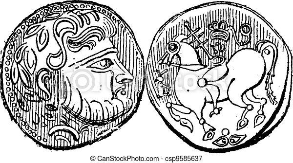 Ancient Greek Didrachma Coin, vintage engraving - csp9585637