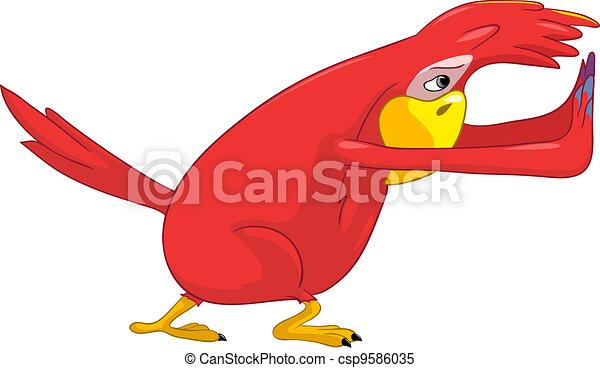 Funny Parrot. Pushing. - csp9586035