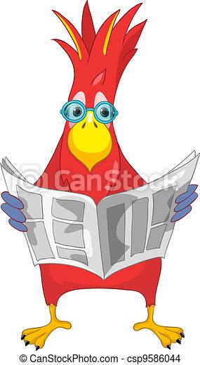 Funny Parrot. News. - csp9586044