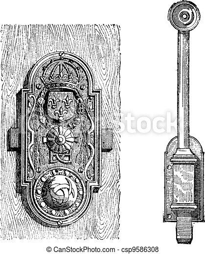 Lock, vintage engraving - csp9586308