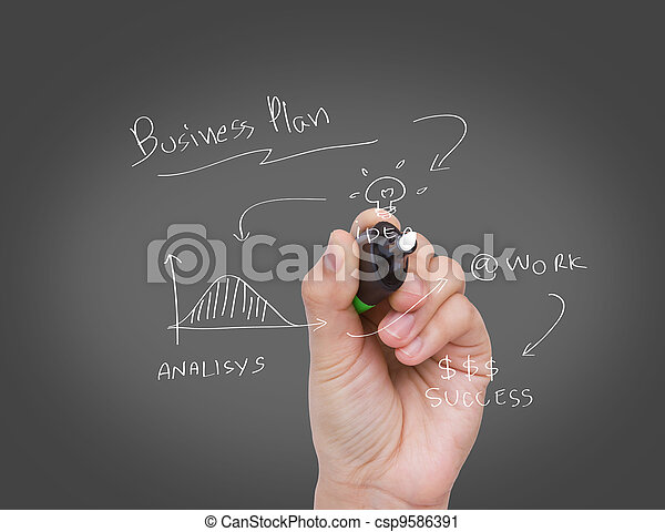Businessman hand drawing a social network scheme on a whiteboard - csp9586391