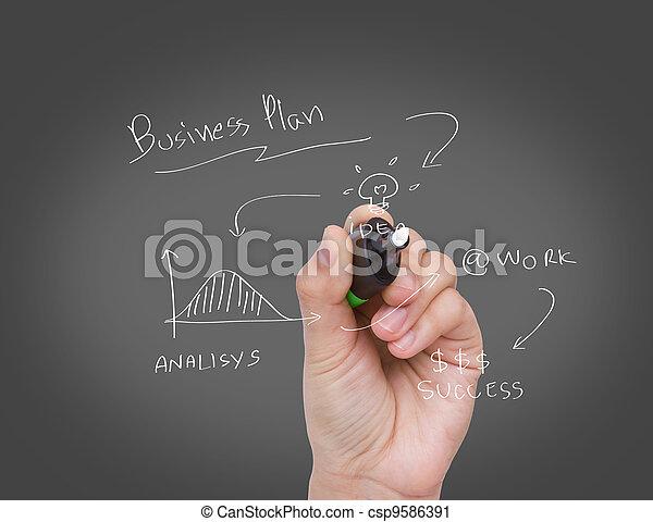 Businessman hand drawing a social network scheme on a whiteboard - csp9586391