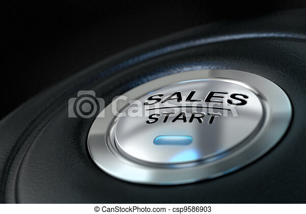 abstract sales start button, metal material, blue color and black textured background. Focus on the main word and blur effect. Sale concept  - csp9586903