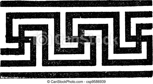 Meander, vintage engraving - csp9586939