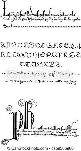 Manuscript, vintage engraving - csp9586968
