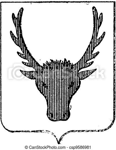 Moose Coat of Arms, vintage engraving - csp9586981