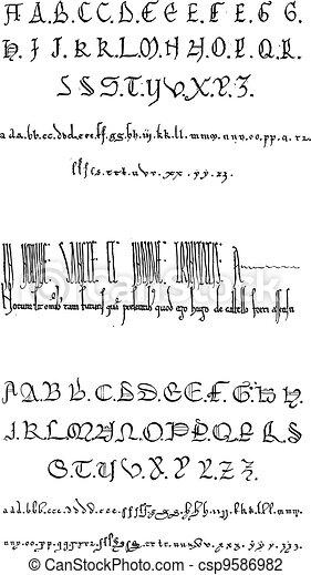 Manuscript, vintage engraving - csp9586982